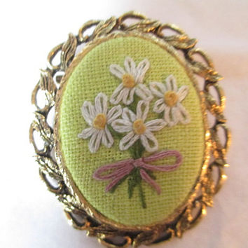 Handcrafted Daisies Flowers Vintage Chartreuse Yellow Green and Flower Bouquet Pin or Pendant Petit Point Embroidered Large Different