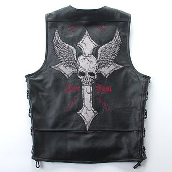 2017 Men Black Skull Cross Embroidery Leather Vest Plus Size 4XL Slim Fit Short Leather Biker Vest Factory Direct FREE SHIPPING