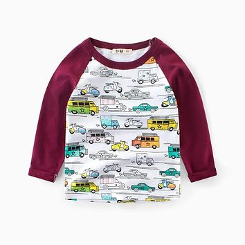 Kids Spring Cartoon Long Sleeve T shirts Boys Girls Cotton Casual Hoodies Cars Printed Children Sweatshirts