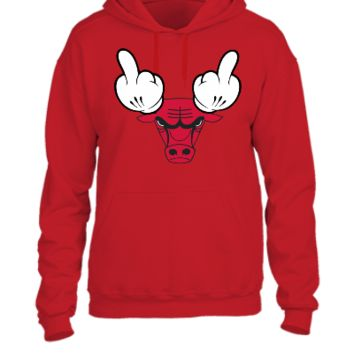 chicago bulls mickey mouse middle finger  - UNISEX HOODIE