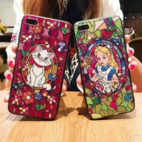 Embossed Church Pattern Marie Cat Alice Wonderland Cute Case For iPhone XS Max XR X 6 6S 7 8 Plus