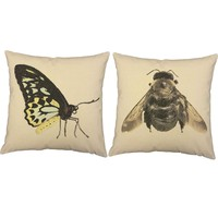Victorian Insects Throw Pillows