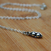 Two peas in the pod charm necklace- Charm necklace, Small necklace, Everyday necklace, Mom necklace, sister necklace