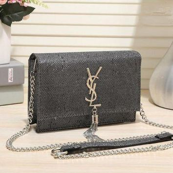 ONETOW Yves Saint Laurent YSL' Fashion Personality Shiny Metal Chain Single Shoulder Messenger Bag Women Tassel Flip Small Square Bag