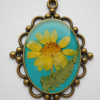 Large real flower pendant, teal pendant, resin botanical jewelry, antique brass necklace, pressed yellow flower pendant, terarrium pendant