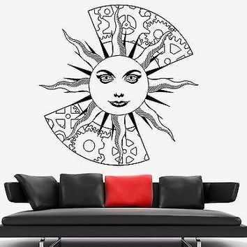 Wall Decal Sun Space Wheel Gear Ornament Tribal Mural Vinyl Decal Unique Gift (z3176)