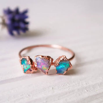 Opal ring - Australian Opal ring - Raw Opal ring - Rough opal ring - Fire opal ring - Rough opal ring - Opal jewelry - Rough Opal