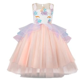 New Kids Girls Unicorn Beading Floral Mesh Tutu Dresses Party Pageant Formal Dress Sleeveless Tulle Cosplay Dress Girls clothes
