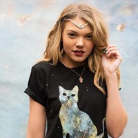 Hand painted galaxy cat black tee. from Gypsy Giggles
