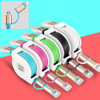 Original Phone Cables 2in1 Data Fast Charger Cable Micro +8pin USB for iPhone 5 6S Samsung HTC Android Flexible
