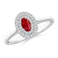 Scallop-Edged Diamond Double Halo Ruby Vintage Ring