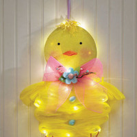 Lighted Geo Mesh Easter Chick Holiday Door Decor Ready to Hang Indoor/Outdoor