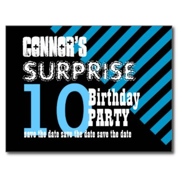 10th KIDS Surprise Birthday Save the Date T10A Post Cards