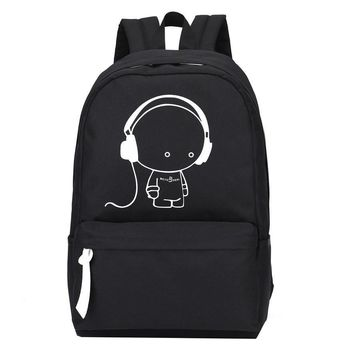 2017 New Arrival Oxford Music Boy Printing Backpack Shoulders Bag Nightlight Doubles Casual School Bags Boys School Backpack