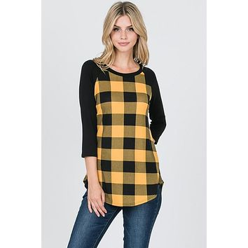 Buffalo Plaid Top - Mustard