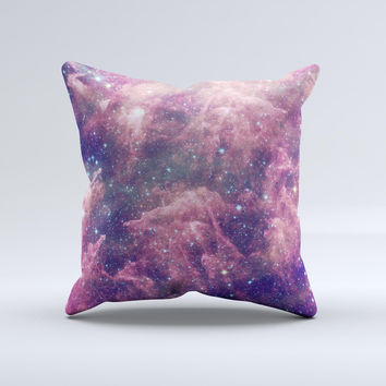 The Vibrant Sparkly Pink Nebula ink-Fuzed Decorative Throw Pillow