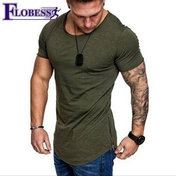 2018 Men's Summer Sports T shirt Men Running Fitness Clothing Shirt Short Sleeve Zippers Leisure Gyms Shirt Male Workout Tops