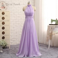 Eternal Moment Lavender Bridesmaid Dresses Halter A Line Sleeveless Flower Pearls Dress Backless BD003