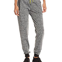 Lark & Ro Women's Hi Tech Seamed Jogger Pant, Black Melange/Acidic Lemon, Medium