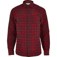 River Island MensRed plaid long sleeve shirt