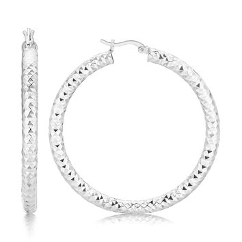 Sterling Silver Thick Faceted Large Hoop Earrings with Rhodium Plating