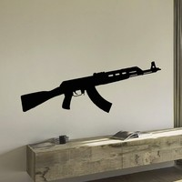 Wall Decal Vinyl Sticker AK-47 Gun Weapon Military Decor Sb442
