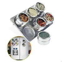 6 Pieces Magnetic Stainless Steel Spice Jars Set Salt and Pepper Shakers/ Seasoning Spray