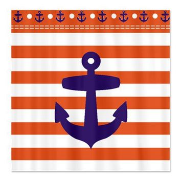 Red Sailor stripes and Blue Anchor Shower Curtain on CafePress.com