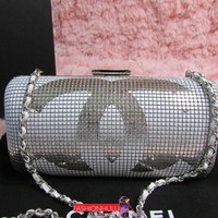 RARE 2014 CHANEL Silver White Mesh Hand Painted Clutch Minaudiere Bag