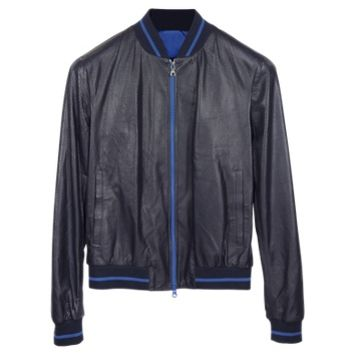 Forzieri Designer Leather Jackets Navy Blue Perforated Leather Men's Jacket