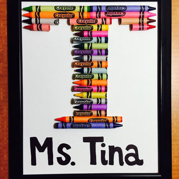 Crayon Letter (on Canvas and Framed on 8 x 10 in) personalized name Baby Boy Girl Nursery Room Decor
