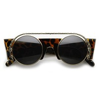 Womens Exquisite Fashion Round Cut Out Trim Geometric Retro Sunglasses 9266
