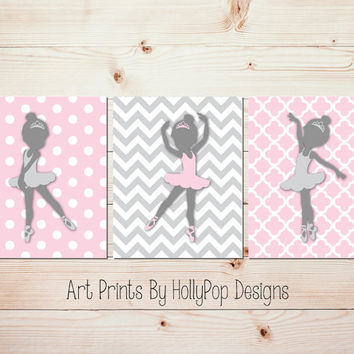 Pink Gray Ballerina Nursery Art Baby Toddler S