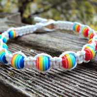 Rainbow Beaded Hemp Bracelet Made To Order