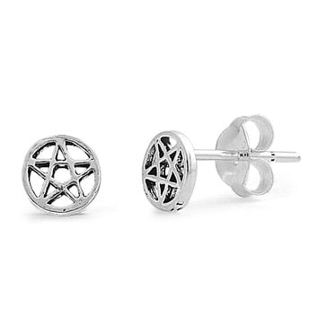 Pentagram Star Stud Earrings Sterling Silver - 5mm
