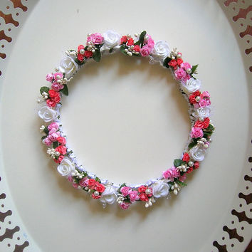 Pink Hair Piece, Wedding Flower Crown, Floral Wedding Headpiece, Bridal Circlet, Head Wreath