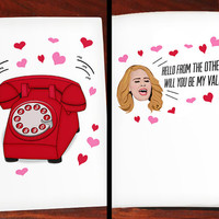 Adele Hello Valentines Day Greeting Card Funny Lyrics - 5 X 7 Inches