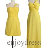 Custom Yellow One Shoulder Strap New Bridesmaid Dresses 2014 Simple Prom Dresses Cheap Evening Gowns Wedding Part Dresses Party Dress