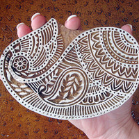 Paisley Stamp: Hand Carved Wood Stamp Large Handmade Indian Textile Printing Block, Ceramic Stamp from India