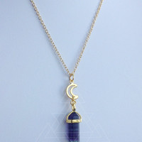 Gold Fluorite Moon crystal point necklace