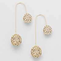 Double Rhinestone Balls Asymmetric Hook Earrings Gold