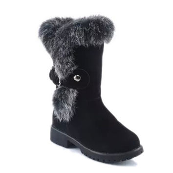 Black Snow Boots With Faux Fur and Buckle Design