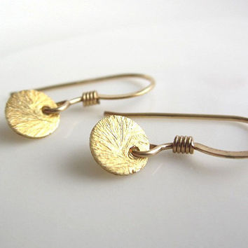 Tiny Gold Disc Earrings, vermeil brushed gold disc, 14k gold filled earwires, petite dainty everyday wear