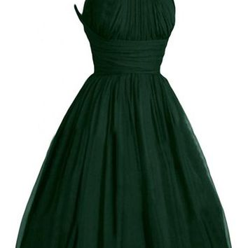 Victoria Dress Fashion A-Line Short Chiffon Pageant Bridesmaid Dresses for Girls-6-Dark Green
