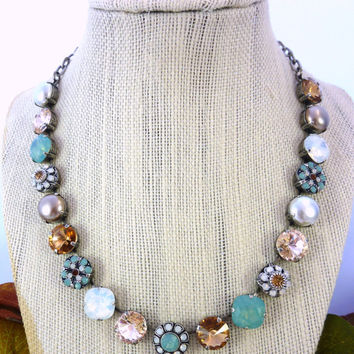 "12mm Swarovski crystal necklace, ""Mykonos"", white opal, pacific opal, pearls, flower embellished, Siggy exclusive"