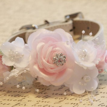 Pink and White Floral Dog Collar, Pink and White Wedding, Pet wedding
