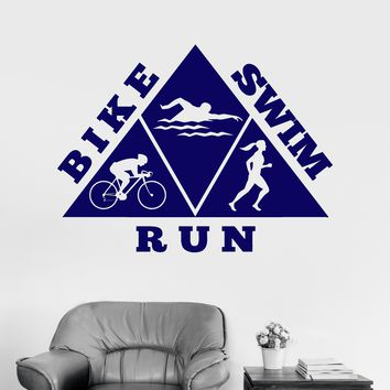 Vinyl Wall Decal Healthy Lifestyle Bike Swim Run Sports Stickers Mural Unique Gift (044ig)