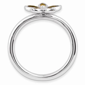 Sterling Silver Stackable Expressions Citrine Flower Ring