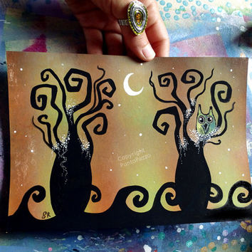 2 drawings,Owl Art ,landscape,whimsical owl decor,Acrylic paint & watercolors on paper,moon art,sunset,dark romance