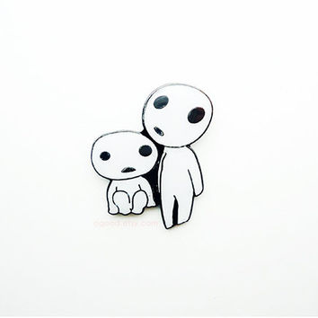 Kodama Pin, tree spirits pin, Princess Mononoke pin, metal pin, Enamel pin, Cartoon pin, lapel pins, funny pin, cute pin, Pinback Buttons